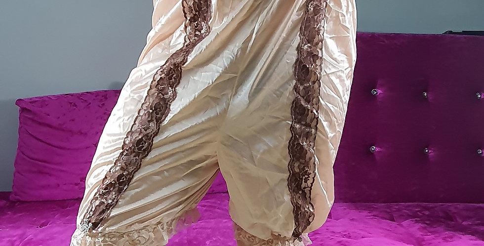 New Bloomer Pettipants Men Handmade Brown Nylon Slip Strip Floral Lacy NSLSS04