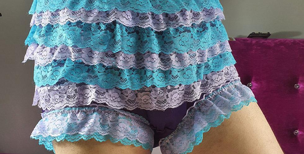 Deep Purple nylon underwear for men Panties Ruffle Briefs Lacy Handmade RNOS03