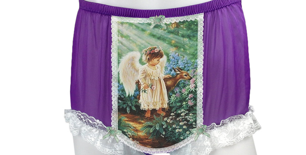 NNH25D14 Deep Purple Handmade Panties Lace Women Men Briefs Nylon Knickers