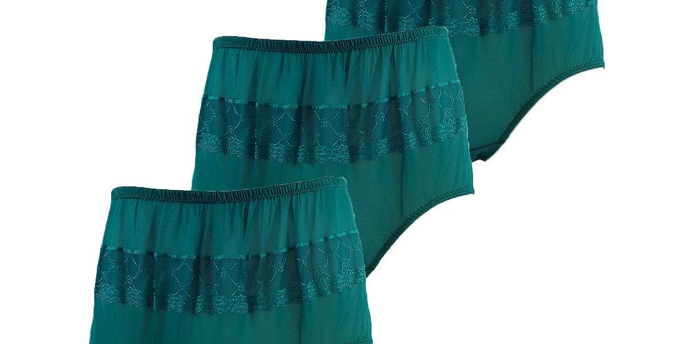 JYL deep green Lots 3 pcs Wholesale Nylon Panties Women Men Floral Briefs