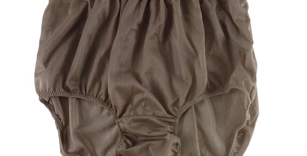 NN16 khaki Brown Women Vintage Panties Granny HI-CUTS Briefs Nylon Knickers