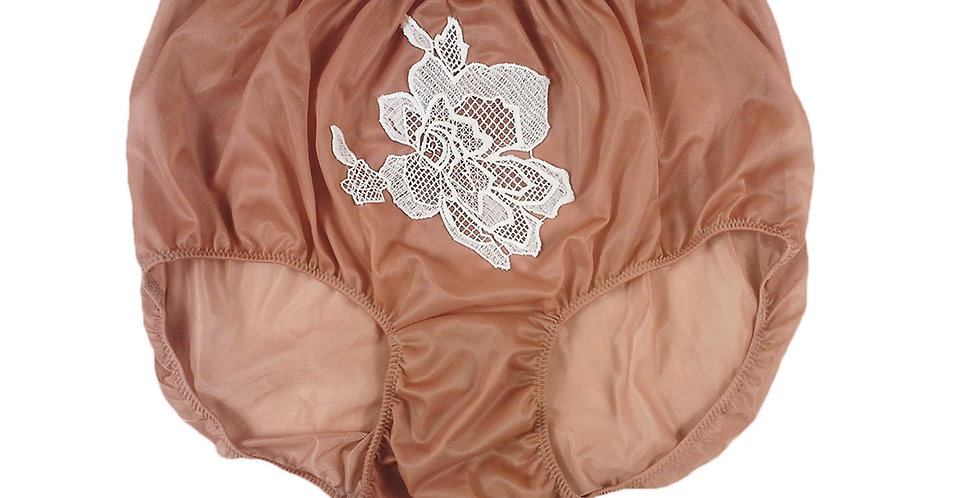 Fair Brown Sew on Flower Patch Embroidered Panties Briefs Nylon Handmade