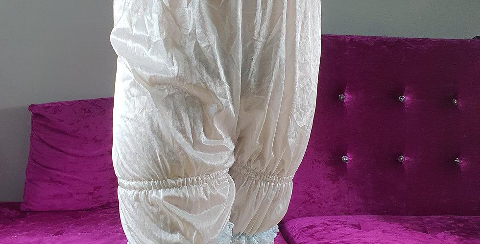 New White Bloomer Underwear Pettipants Men Handmade Nylon Slip Pink Lacy NSLTL06
