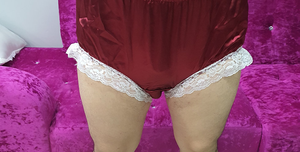New Deep Red Satin Sissy Men Granny Knickers Briefs Lacy Handmade Panties RSTH04