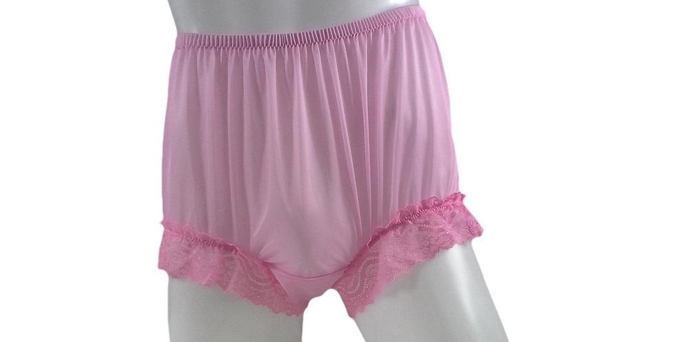 NNH04D10 Pink Handmade Nylon Panties Granny Briefs Lingerie Women Man