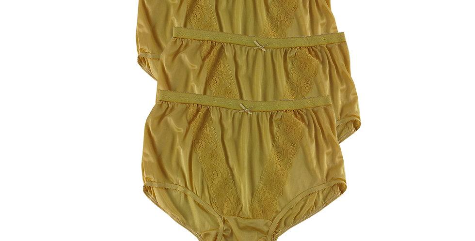KJT DEEP YELLOW Lots 3 pcs Wholesale Panties Granny Lace Briefs Nylon Men Woman