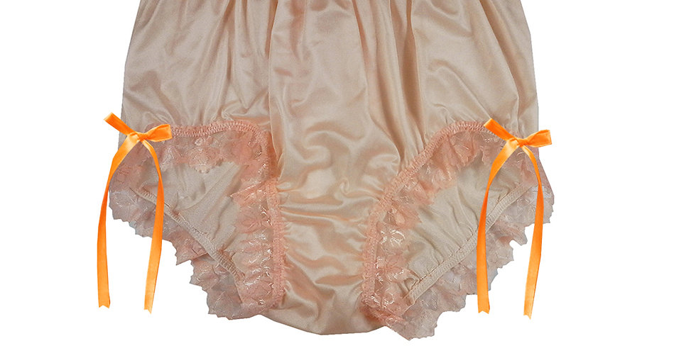 NQH17D02 Orange New Panties Granny Briefs Nylon Handmade Lace Men