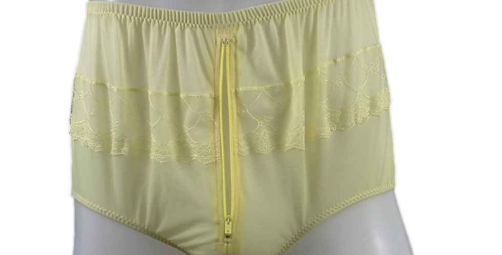 JYH03P02 yellow Handmade Nylon Panties Women Men Lace Knickers Briefs