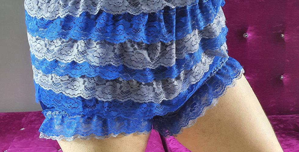 Navy Blue Ruffle Frilly Nylon Briefs Men Lacy Panties Handmade Knickers RNOS08