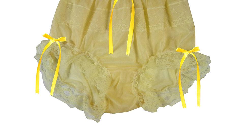 JYH18D01 Yellow Handmade Nylon Panties Women Men Lace Knickers Briefs