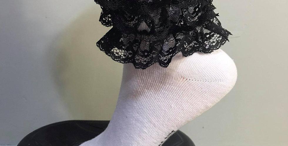 New White Socks Bridal Ruffle Firlly Black Lacy Handmade Nylon Men Adult Ankle S