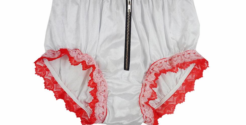 NQH23DI05 White Zipper New Panties Granny Briefs Nylon Handmade Lace Men