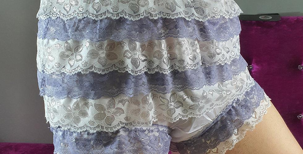 New White high waisted nylon knickers Panty Ruffle Briefs Lacy Handmade RNOS10