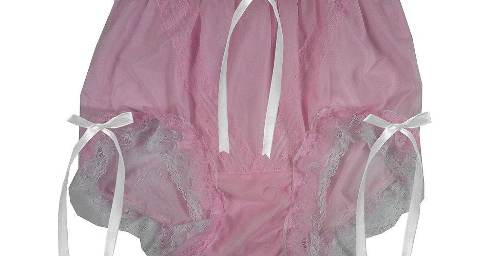 SSH22D11 Pink Handmade Nylon Panties Lace Women Granny Men Briefs