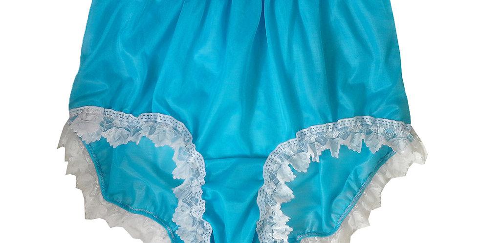 NNH24D13 Light Blue Handmade Panties Lace Women Men Briefs Nylon Knickers