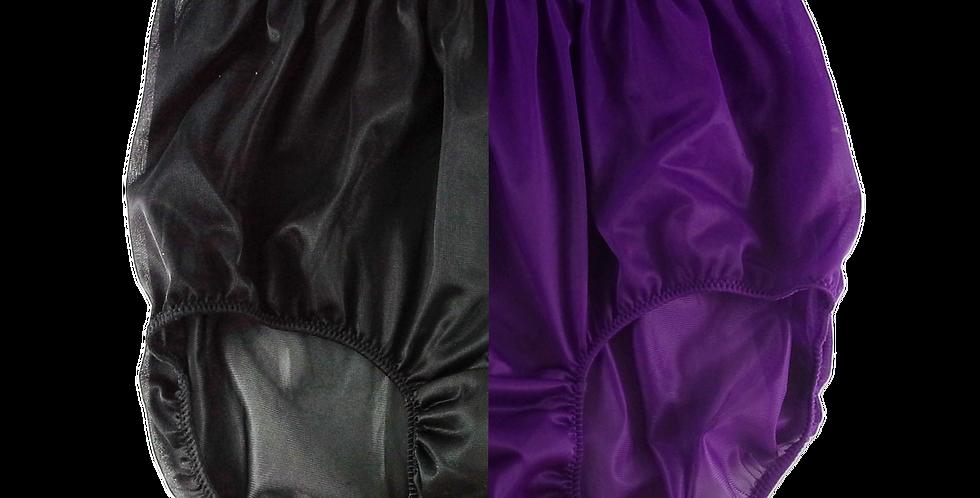 Black Deep Purple TWO TONE Nylon Brief Panties Knickers Men Handmade Nbk+dpp10