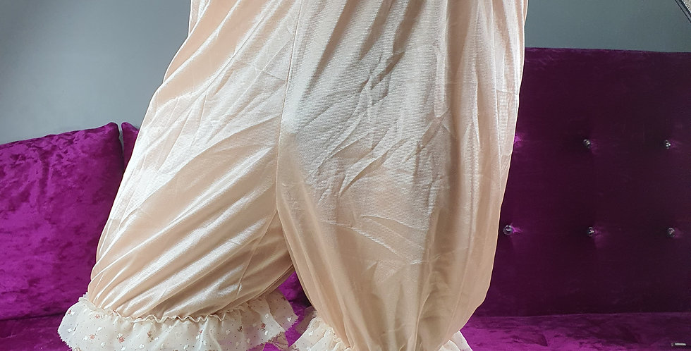Brown Pettipants Men Pinup Lingerie Bloomer Handmade Nylon Slips Lacy NSLL01-1