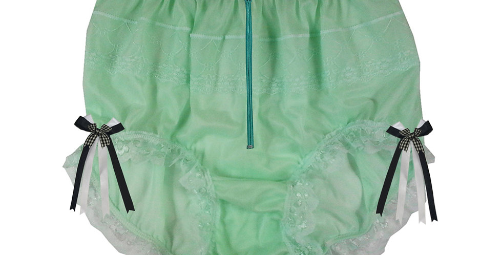 JYH20D04 Fair Green Zipper Handmade Nylon Panties Women Men Lace Knickers Briefs