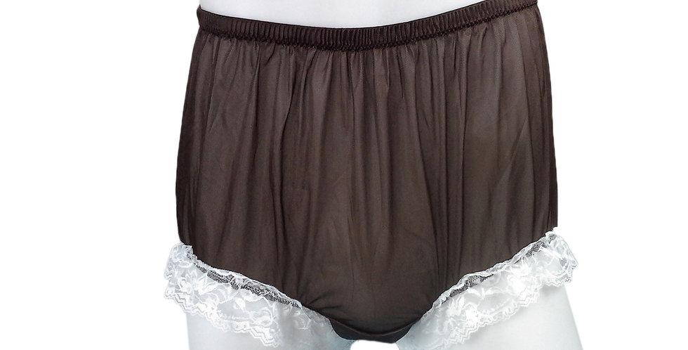 NH01D12 Tan Brown Handmade Panties Lace Women Men Briefs Nylon Knickers