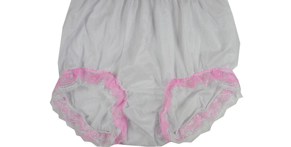 NNH05D23 White Handmade Panties Lace Women Men Briefs Nylon Knickers