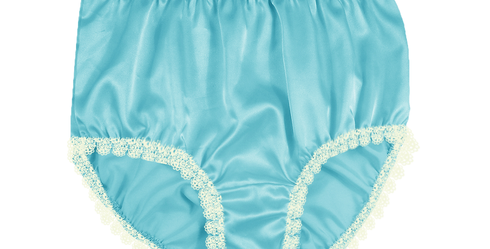 New Mint Blue Satin Vintage Panties Briefs Men Knickers Handmade White Lacy STWL
