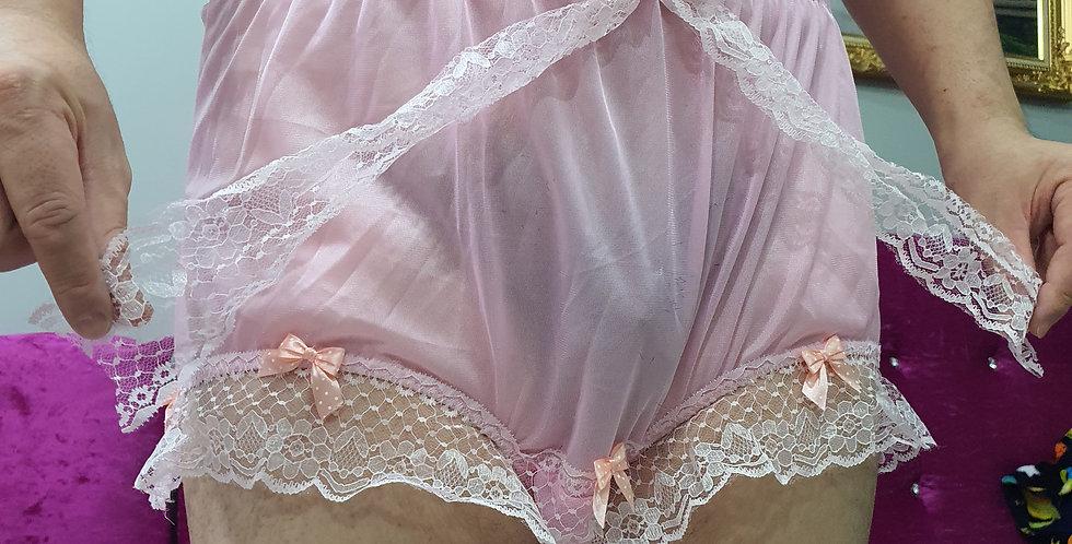 New Pink Nylon Briefs Men Underwear Ribbon Lacy Panties Handmade Knickers RNOL07