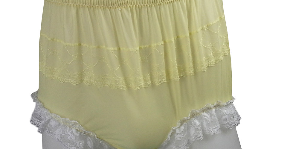 JYH01D03 Yellow Handmade Nylon Panties Women Men Lace Knickers Briefs