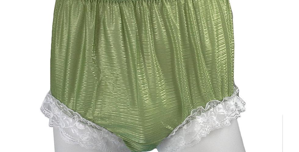 SFH01D08 Olive Green Shiny Nylon New Panties Women Men Handade Briefs