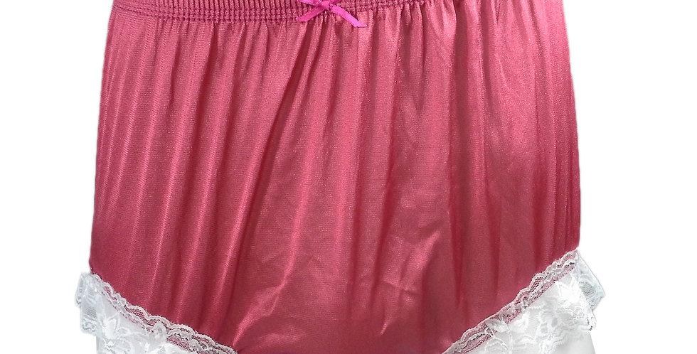 NQH01D05 Light Pink Panties Granny Briefs Nylon Handmade Lace Men Woman
