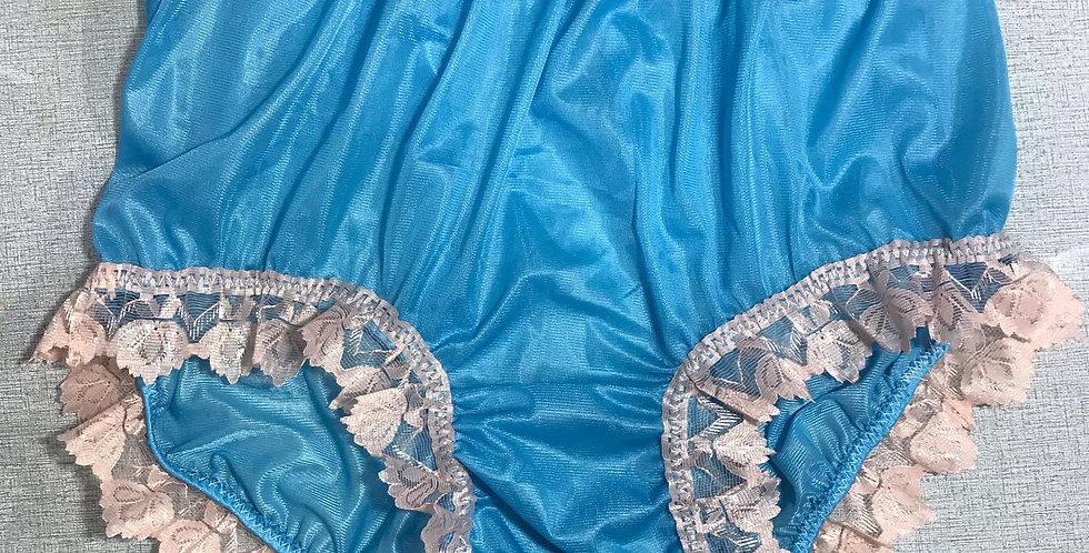 Light Blue Full Cut Panties Knickers Nylon Brief Ribbon Lace Men Handmade NRRH14