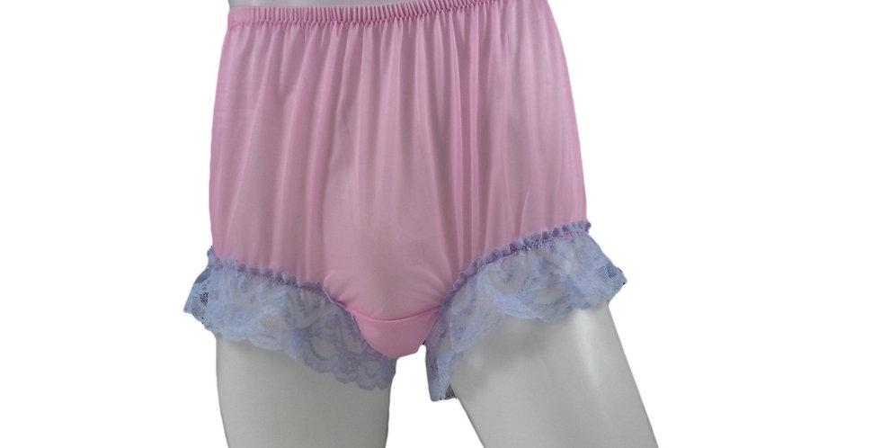 NNH04D02 Pink Handmade Nylon Panties Granny Briefs Lingerie Women Man