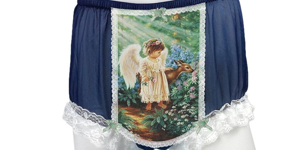 NNH25D02 Deep Blue Handmade Panties Lace Women Men Briefs Nylon Knickers