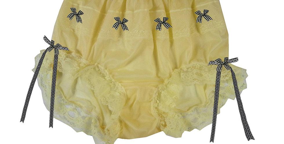JYH18D07 Yellow Handmade Nylon Panties Women Men Lace Knickers Briefs