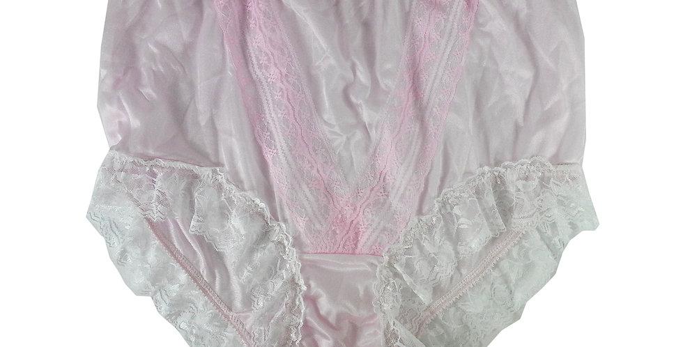 NLH01D02 Pink Panties  Lace Briefs Nylon Handmade  Men Woman