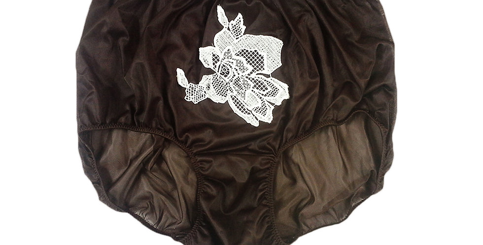 Tan Brown Sew on Flower Patch Embroidered Panties Briefs Nylon Handmade