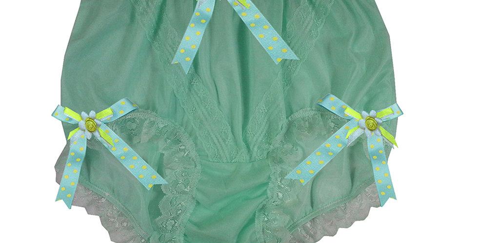 SSH18D02 Green Handmade Nylon Panties Lace Women Granny Men Briefs