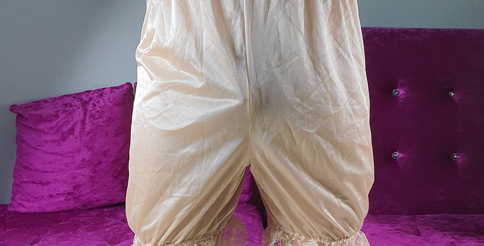 Brown Bloomer Pettipants Men Sleepwear Underwear Sheer Nylon Slips Lace NSLO04
