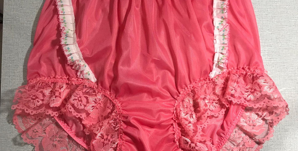 Light Blue Vintage Nylon Knickers Panties Briefs Panel Lace Men Handmade NRLP03