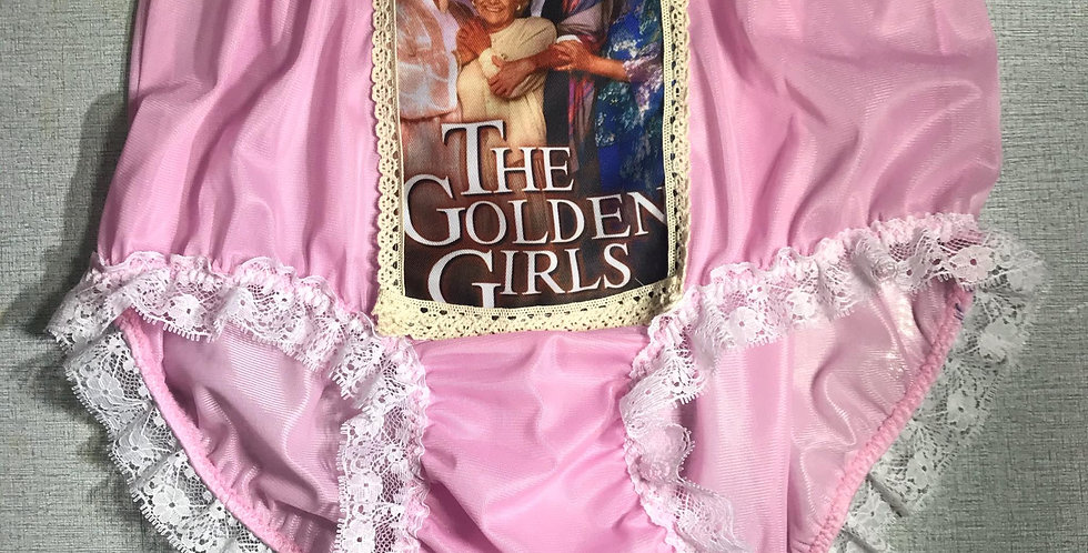 Fair Pink The Golden Girls Briefs Nylon Lacy Panties Knickers Men Handmade GG15