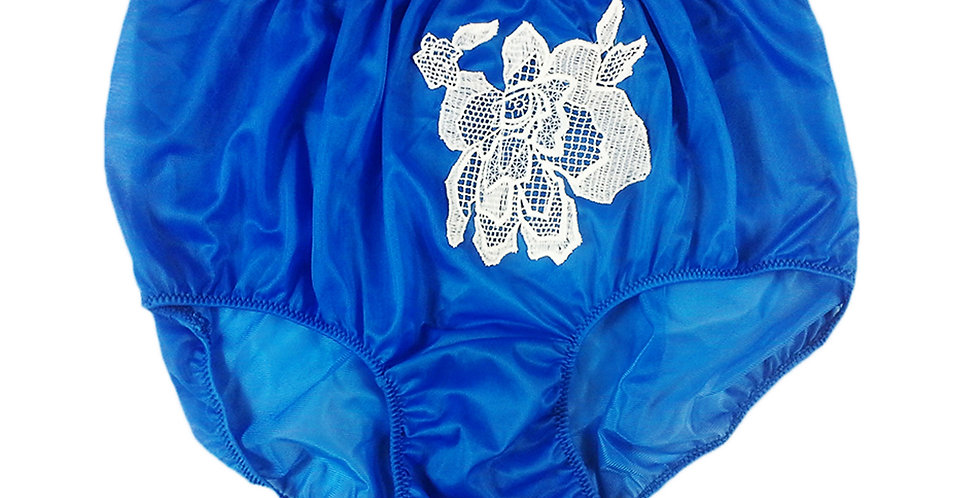 Royal Blue Sew on Flower Patch Embroidered Panties Briefs Nylon Handmade