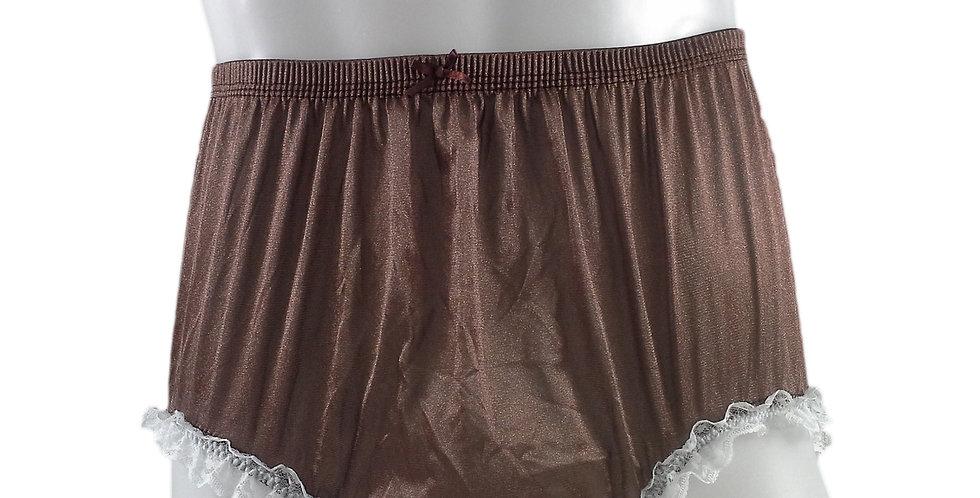 NQH02D07 Tan Brown Panties Granny Briefs Nylon Handmade Lace Men Woman