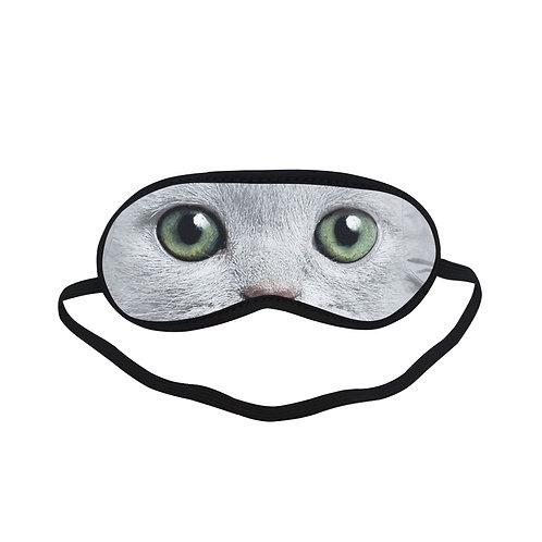 ATEM137 White cat Eye Printed Sleeping Mask