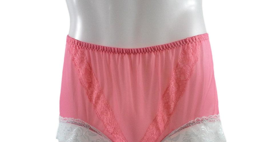 SSH01D01 Light Pink Handmade Nylon Panties Lace Women Granny Men Briefs