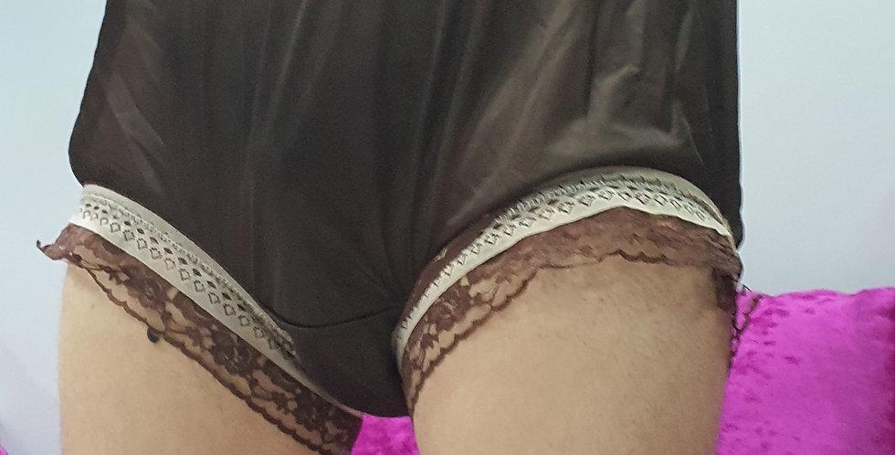 Deep Brown Sissy Nylon Briefs Men Double Lacy Panties Handmade Knickers RNOL50