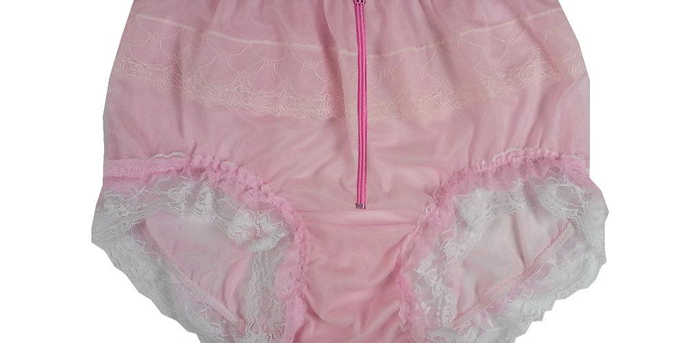 Pink Men's Underwear Open Front Zipper Panties Briefs Nylon Men Knickers Lace