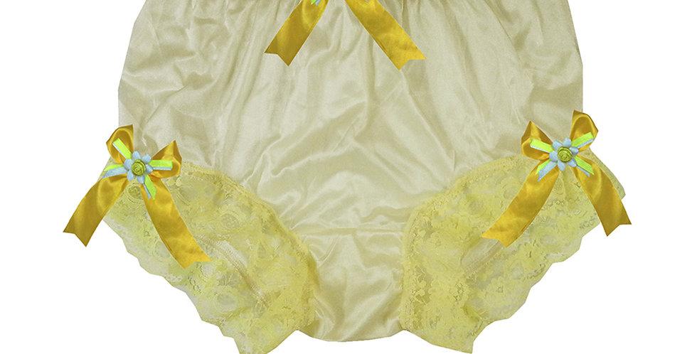 NYH18D08 Yellow Handmade New Panties Briefs Lace Sheer Nylon Men Women