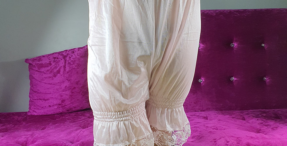 New Pink Bloomer Pettipants Vintage Men Lingerie Handmade Nylon Slip Lacy NSLT01