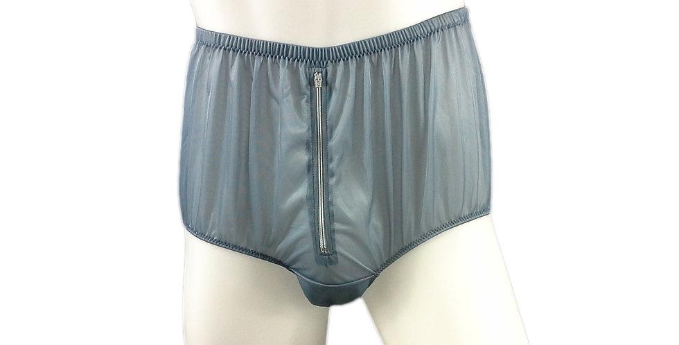 NH03D01 Gray Grey Handmade Panties Lace Women Men Briefs Nylon Knickers