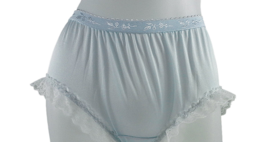 CKH02D05 Blue New Nylon Panties Handmade Lace Floral Women Knickers