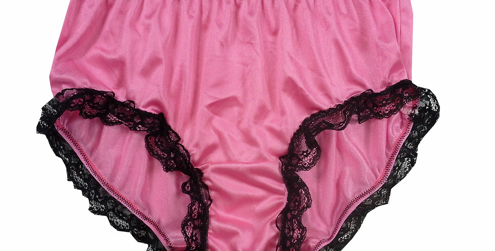 CKH08D03 Pink Silky New Nylon Panties Handmade Lace Floral Women Knicker